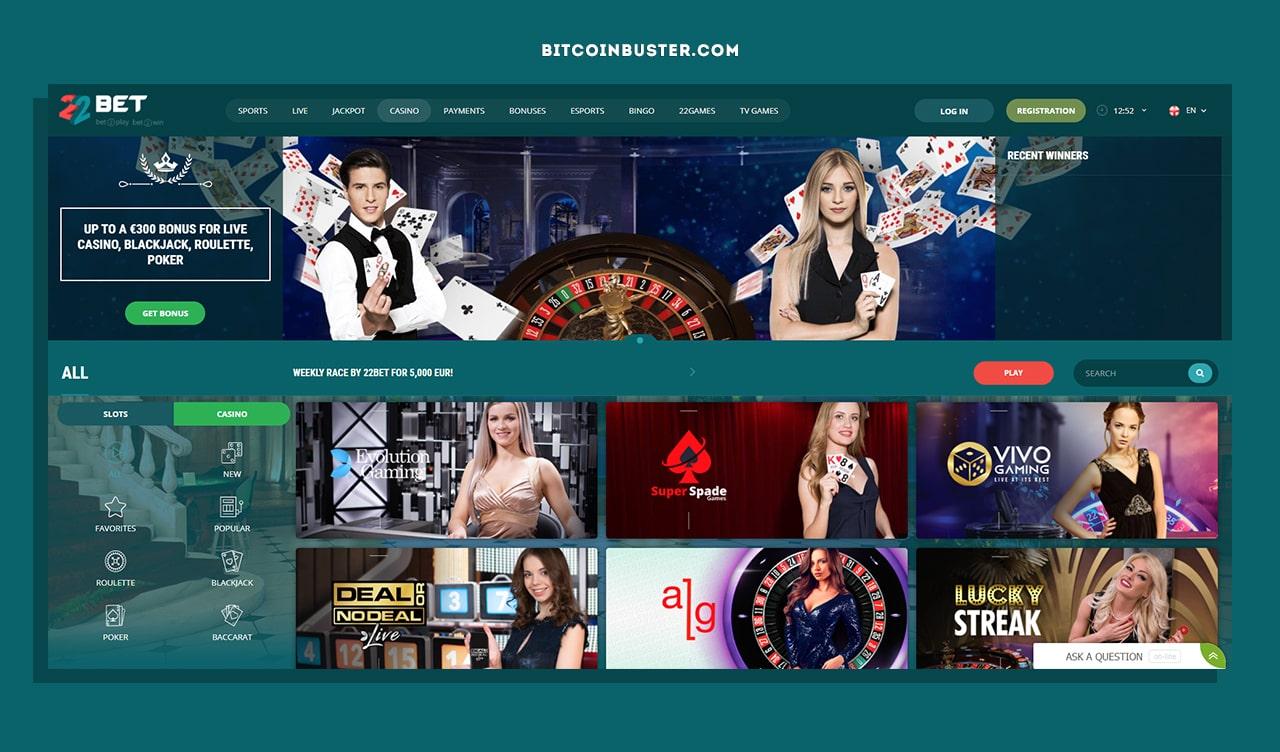 22BET Casino Homapage