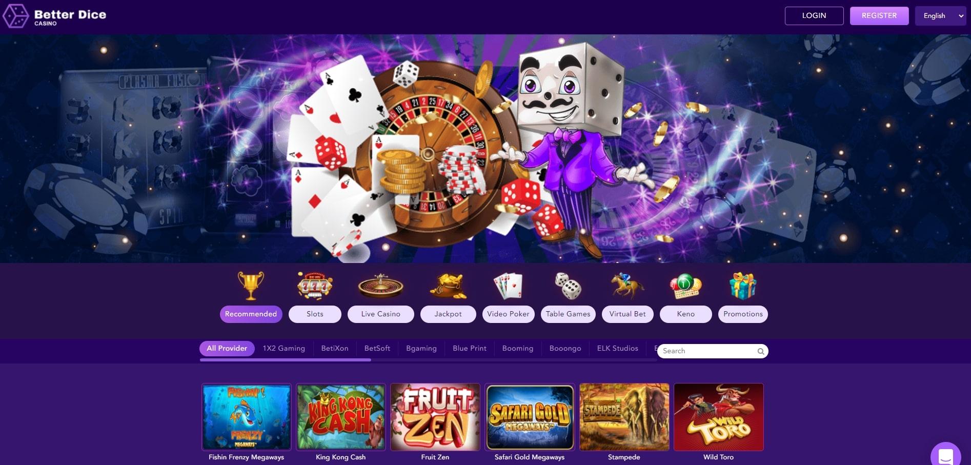 BetterDice Casino Homepage