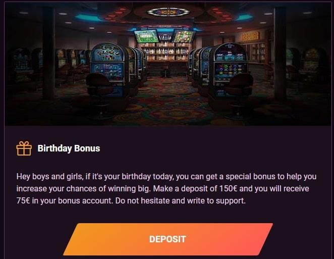 Birthday Bonus in Casinonic