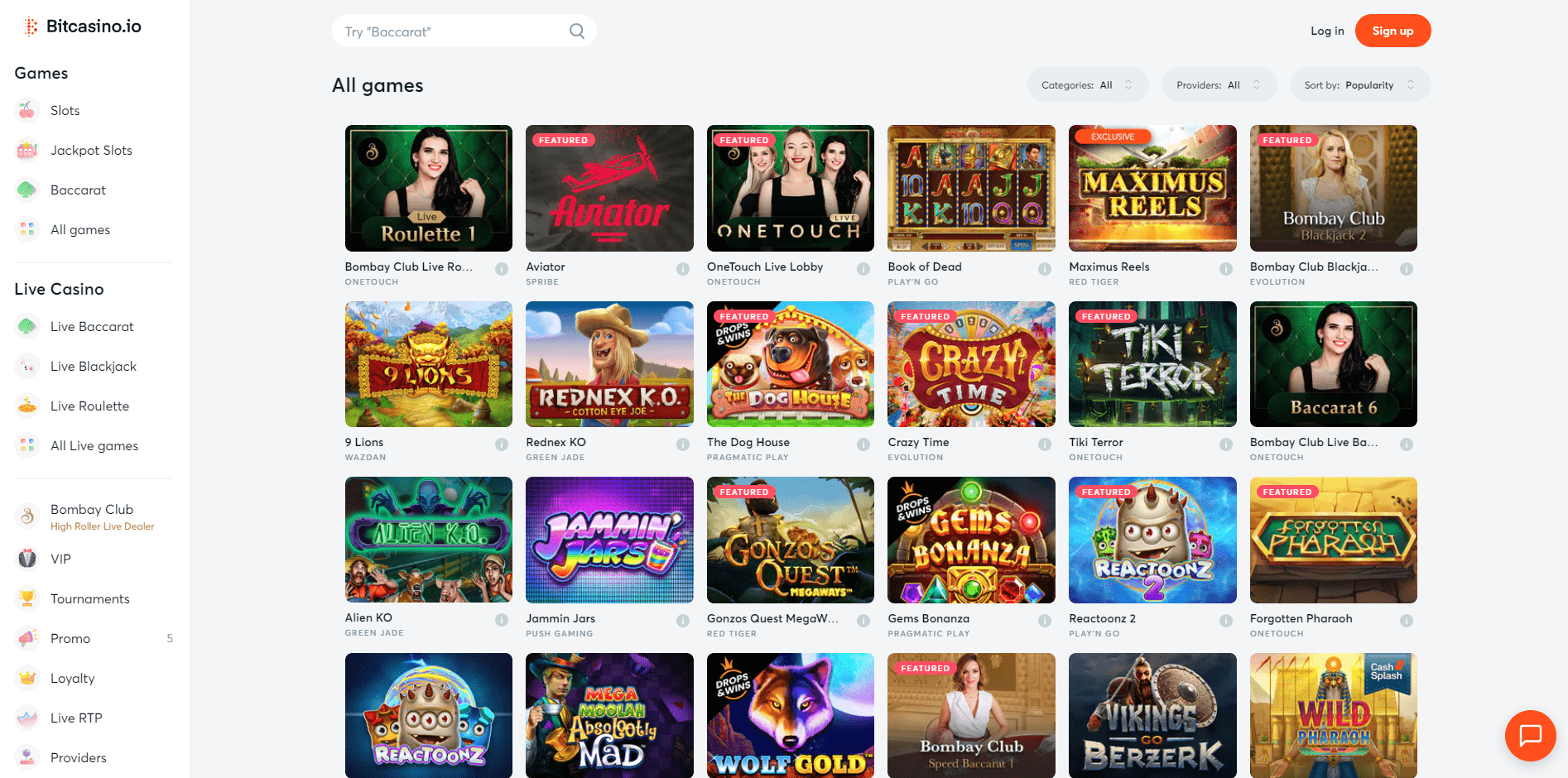Some of the games on offer in Bitcasino.io