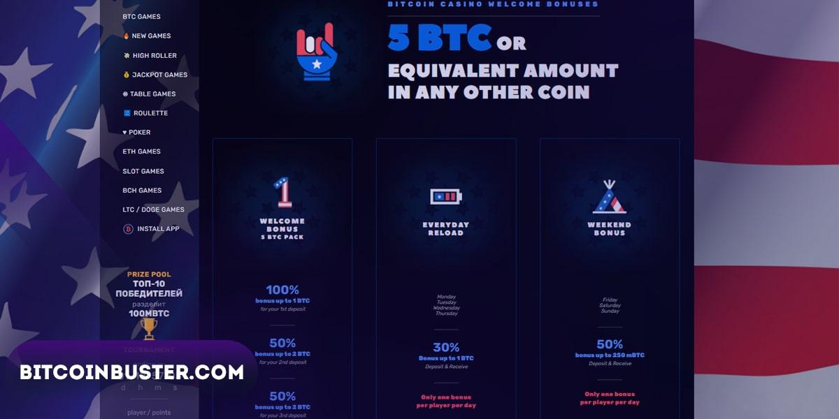 Bonuses in Bitcoincasino.us