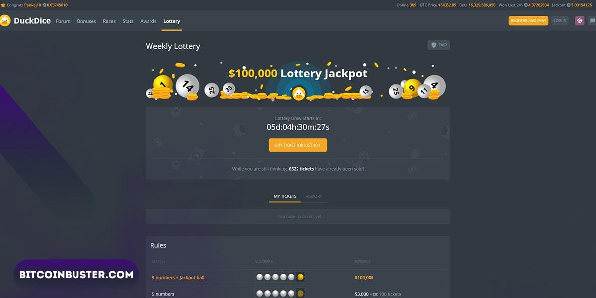DuckDice Lottery