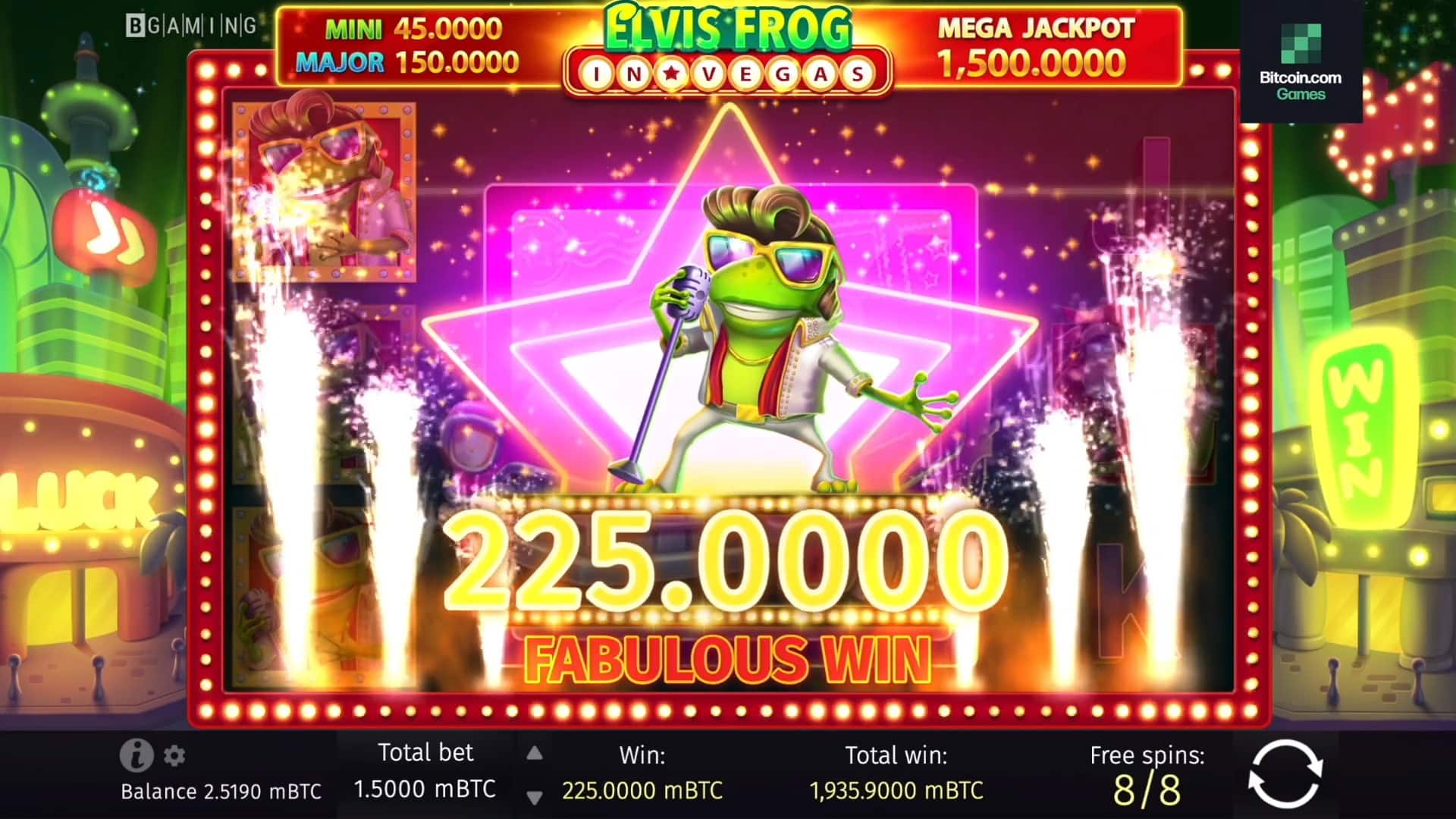 Player of Bitcoin.com Games Hits Mega Jackpot in the Elvis Frog in Vegas Online Slot