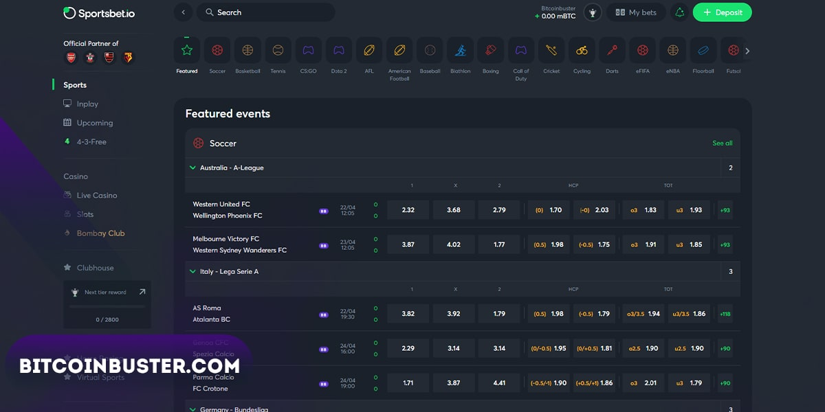 Homepage Sportsbet.io betting