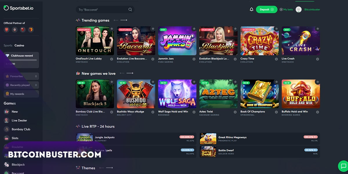 Sportsbet.io Casino Homepage