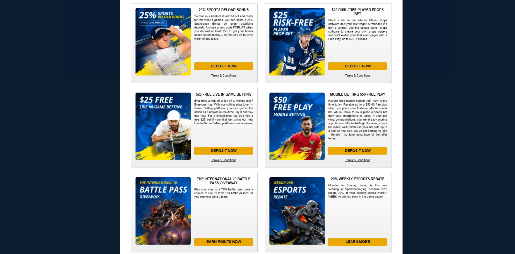 Sportsbetting.ag sports bonuses