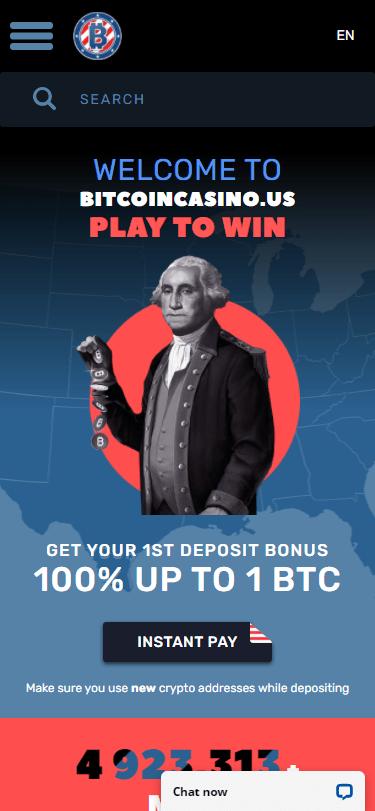 bitcoincasino.us on Mobile