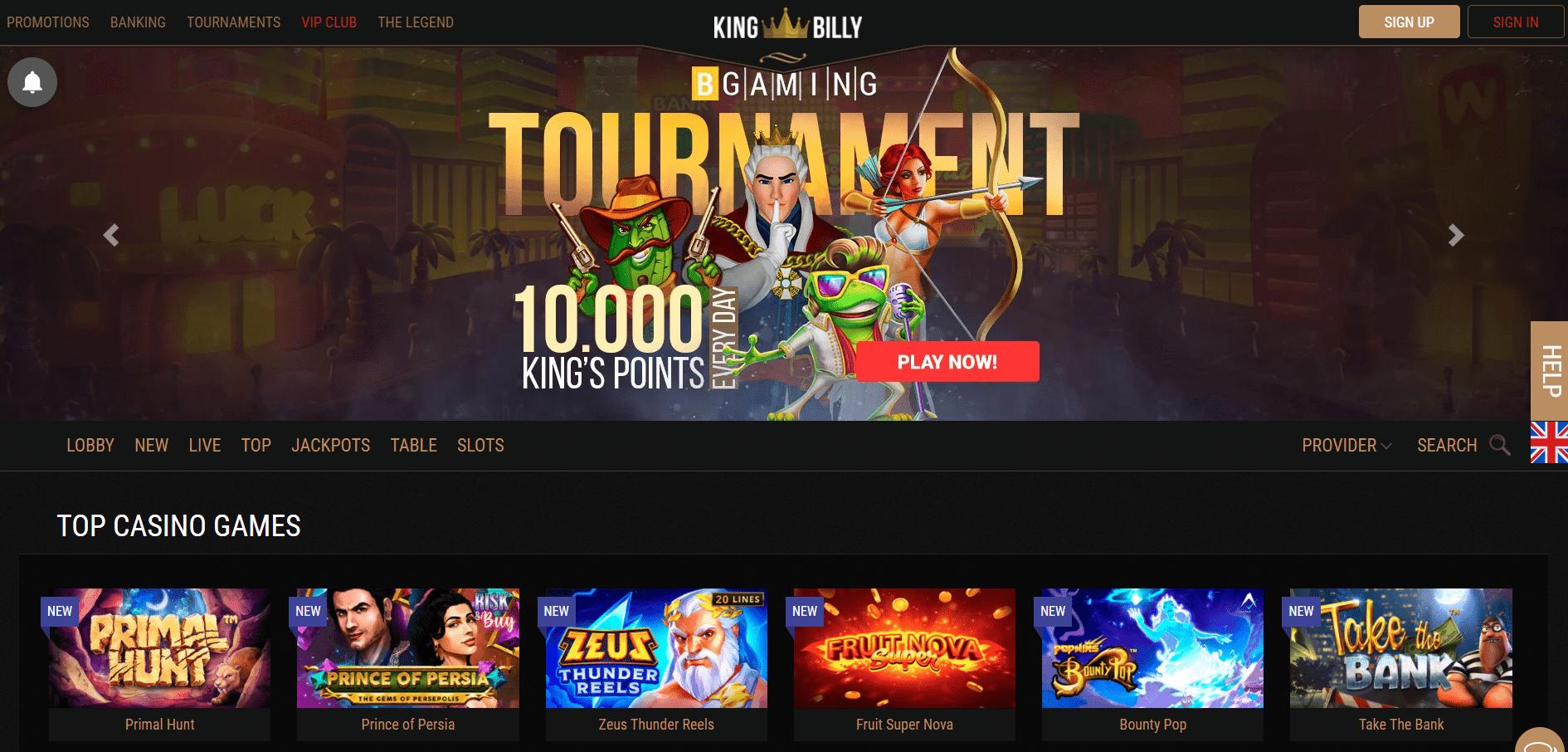 King Billy Casino Homepage