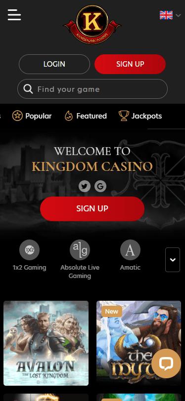 kingdomcasin on mobile