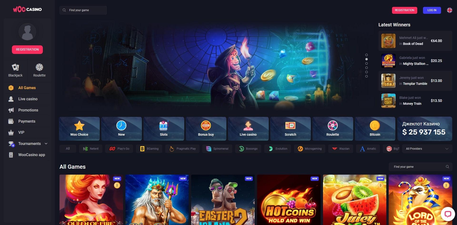 woo casino homepage